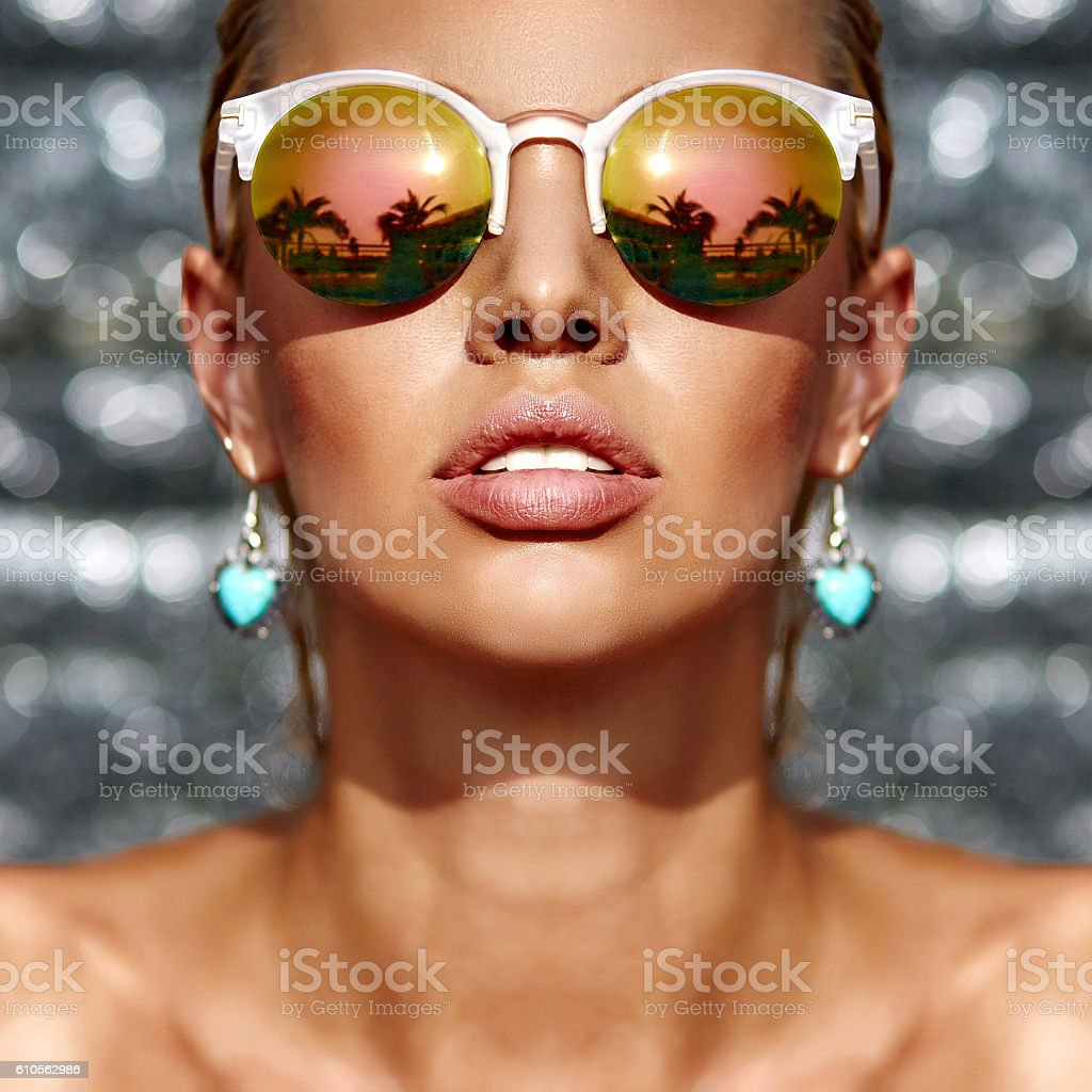 Closeup fashion beautiful woman portrait wearing sunglasses stock photo