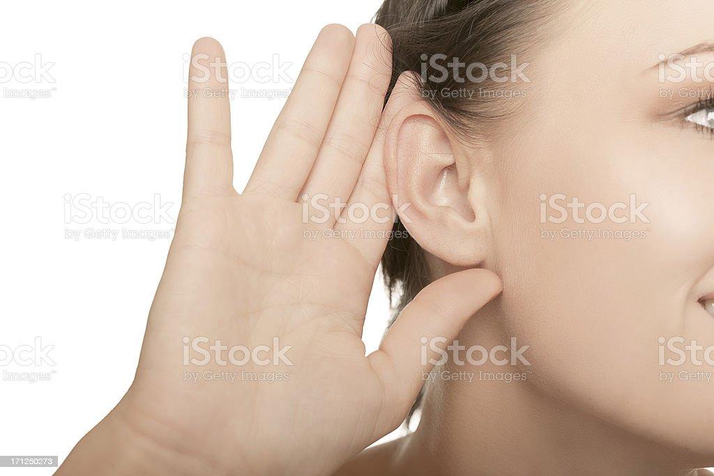 close-up female ear stock photo