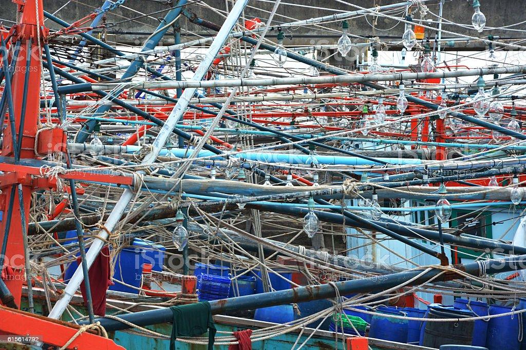 closeup fishing boats in the sea Thailand royalty-free stock photo