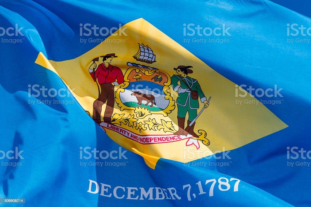 Closeup, Flag of Delaware stock photo