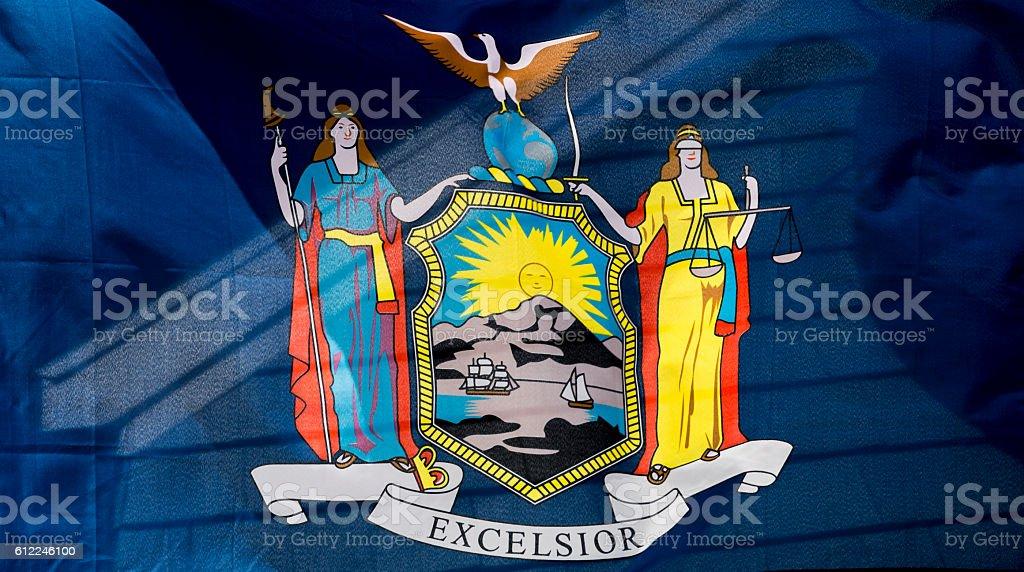 Closeup, Flag of New York State stock photo