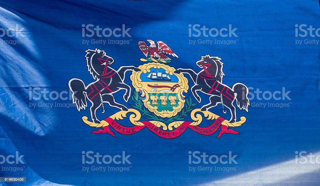 Closeup, Flag of Pennsylvania stock photo