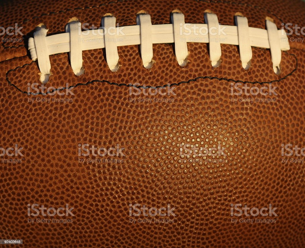 Close-up football background with laces stock photo