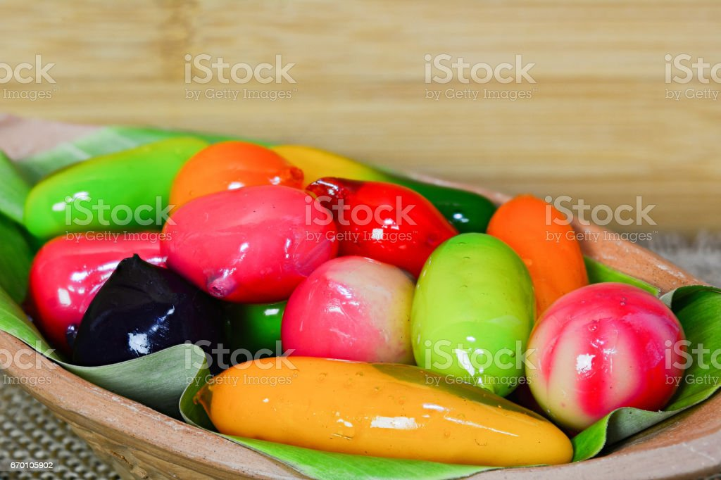 Closeup for deletable imitation fruits stock photo