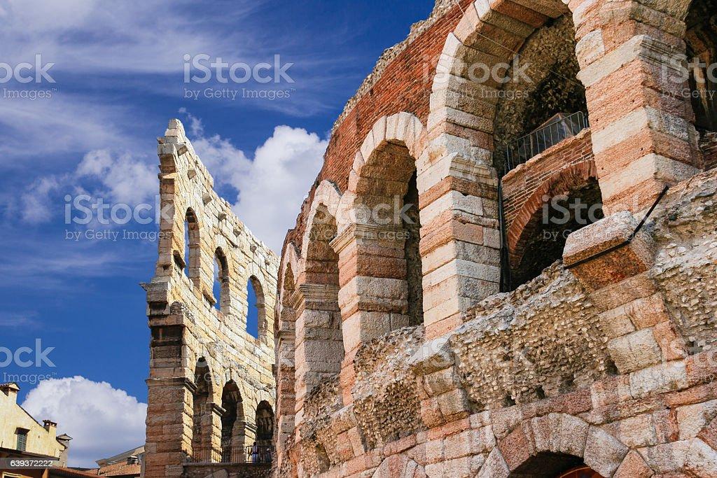 Close-up Fragment of Verona Arena, Piazza Bra, Verona, Italy. stock photo