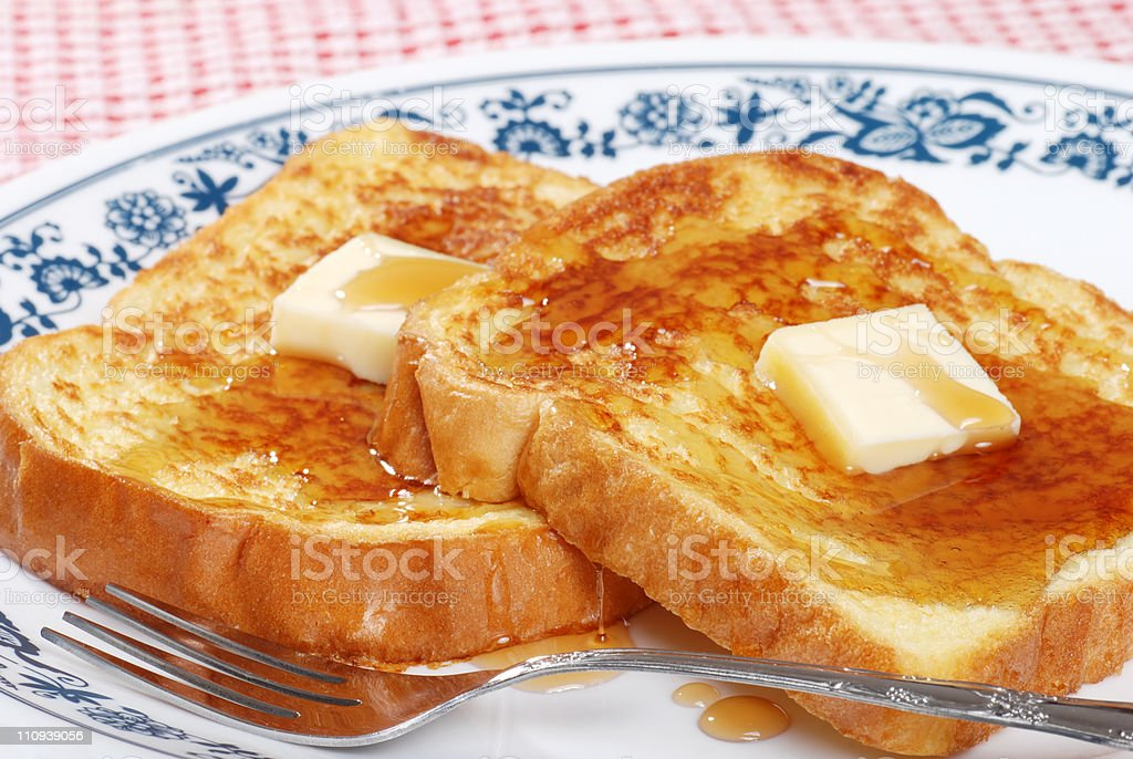 closeup french toast and syrup stock photo