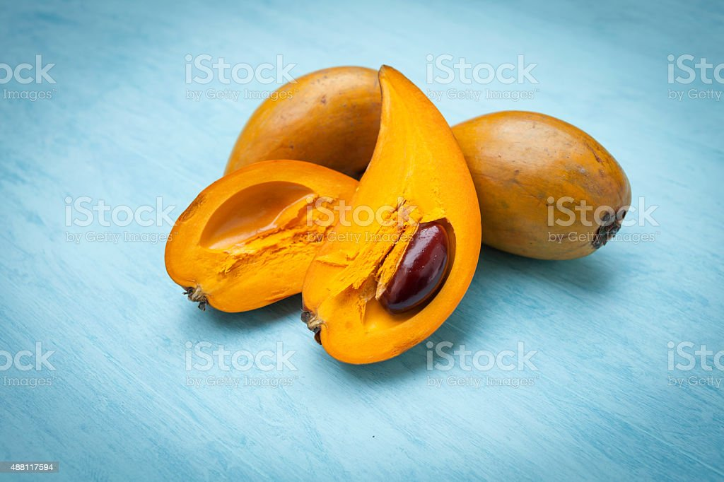 Closeup fresh Eggfruit stock photo