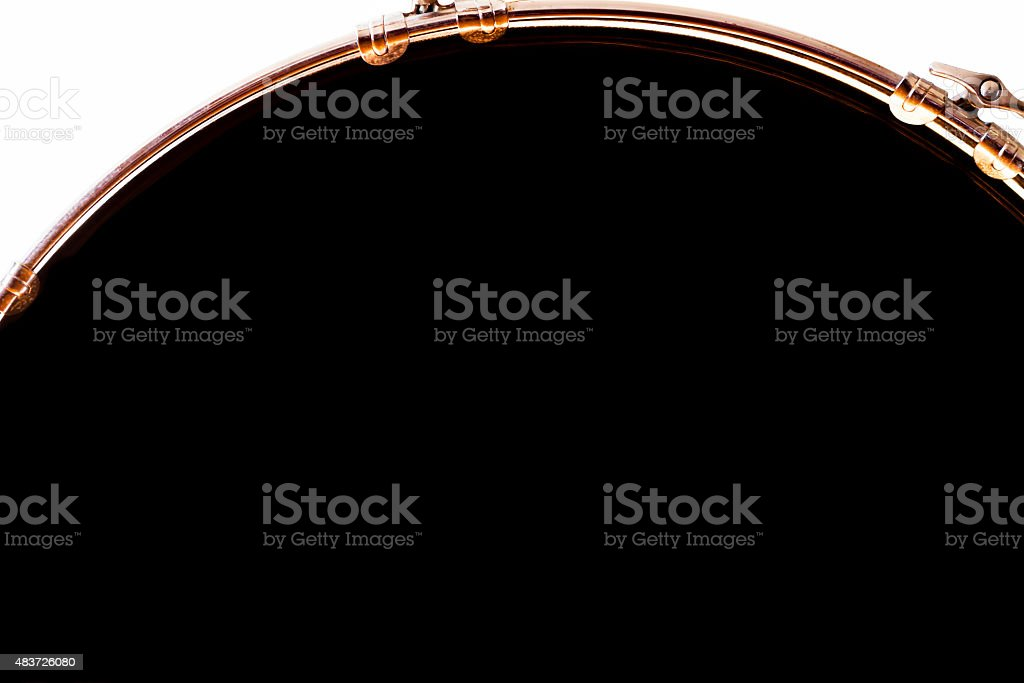 Closeup front view of bass drum, copy space, clipping path stock photo
