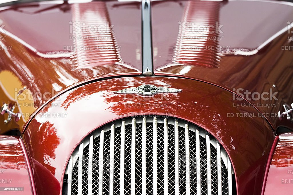 Closeup front view of Morgan car bonnet and radiator grille stock photo
