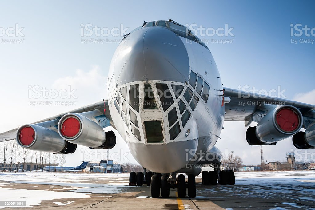 Close-up front view of widebody cargo aircraft royalty-free stock photo