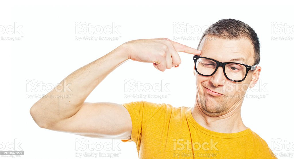 Closeup funny guy stock photo