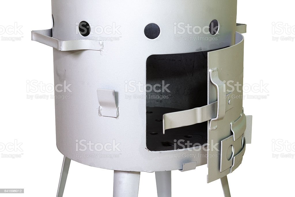closeup furnace of new metal stove on white background stock photo