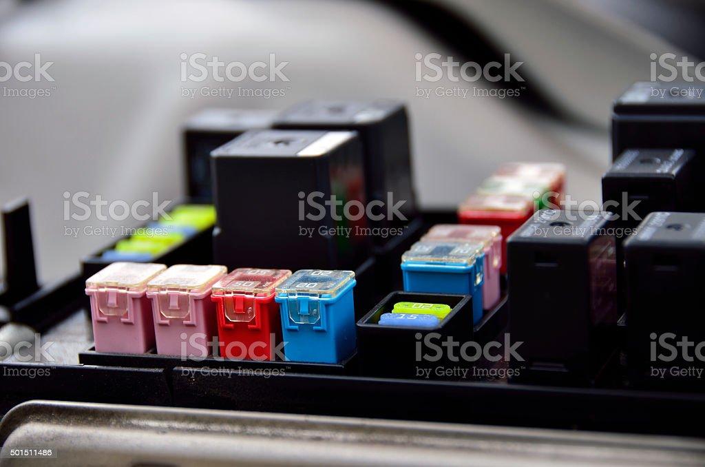 closeup fuse box inside the car stock photo