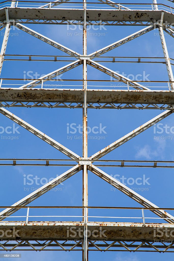 closeup gasometer and rusty metal disused stock photo