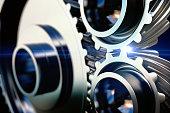 close-up gear metal wheels