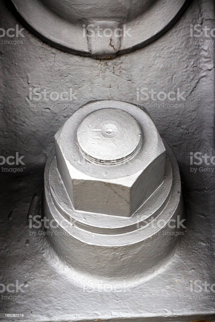 CLoseup giant bolt and nut stock photo