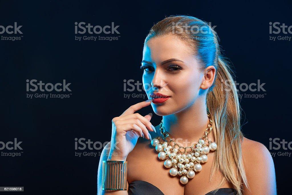 Closeup glamour fashion portrait of young woman stock photo