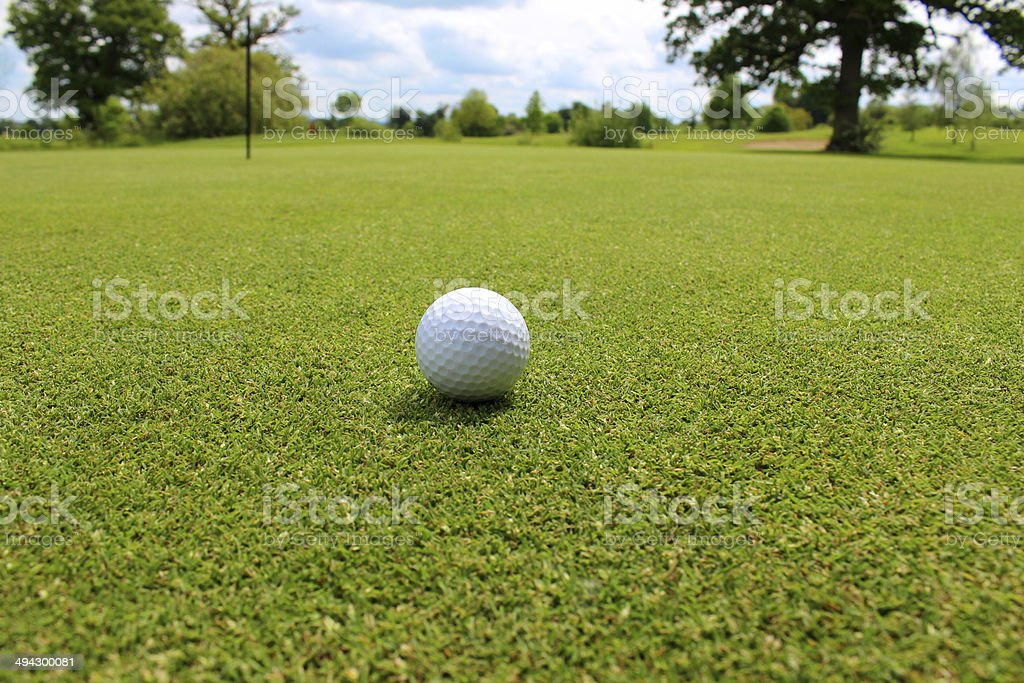 Close-up golf ball in grass on golf course putting green royalty-free stock photo