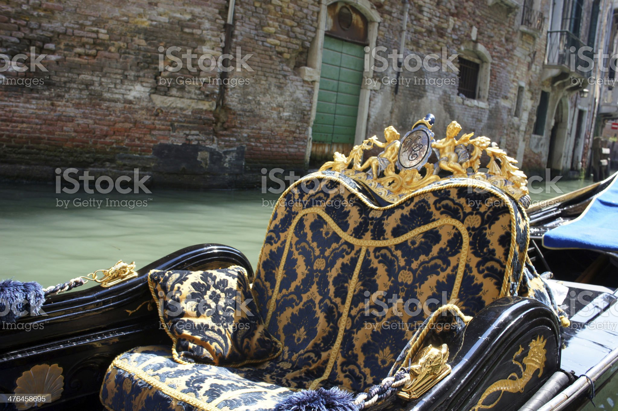 Close-up gondola on a canal in Venice, Italy royalty-free stock photo