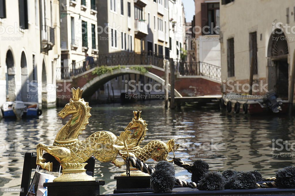 Close-up gondola on a canal in Venice royalty-free stock photo