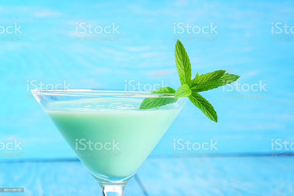 closeup grasshopper cocktail with mint stock photo