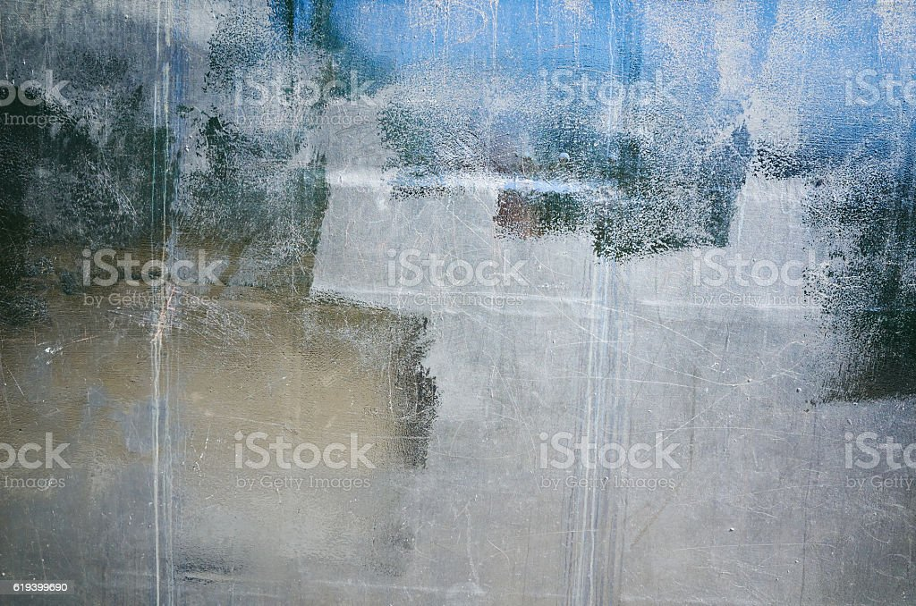Close-up gray old metal wall texture background, rivets, dots, line stock photo