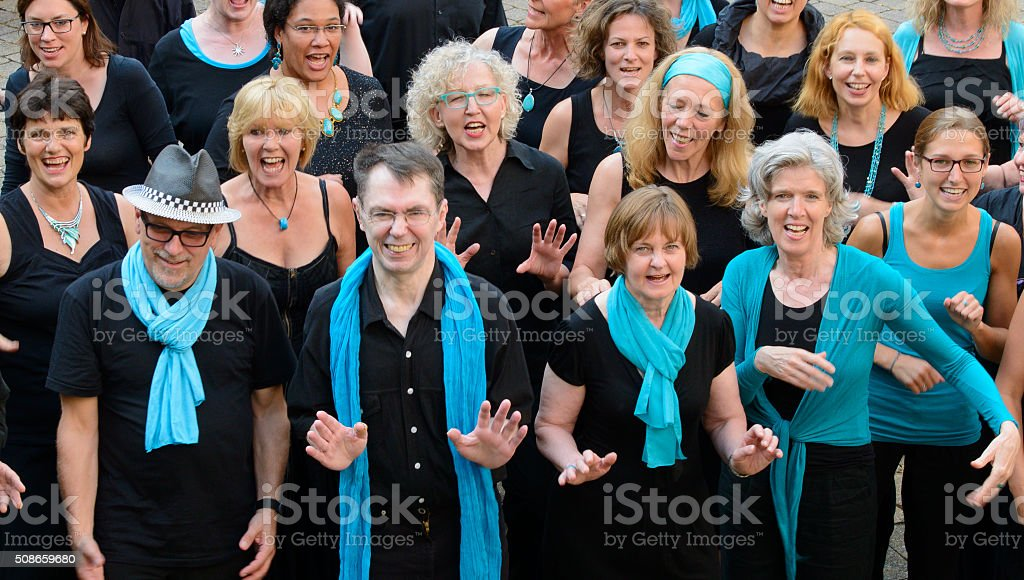 Close-up Group Active Singing Smiling People Black White Blue Choir stock photo