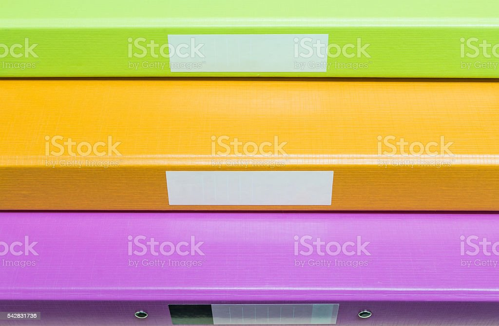 Closeup group of coloreful document file background stock photo
