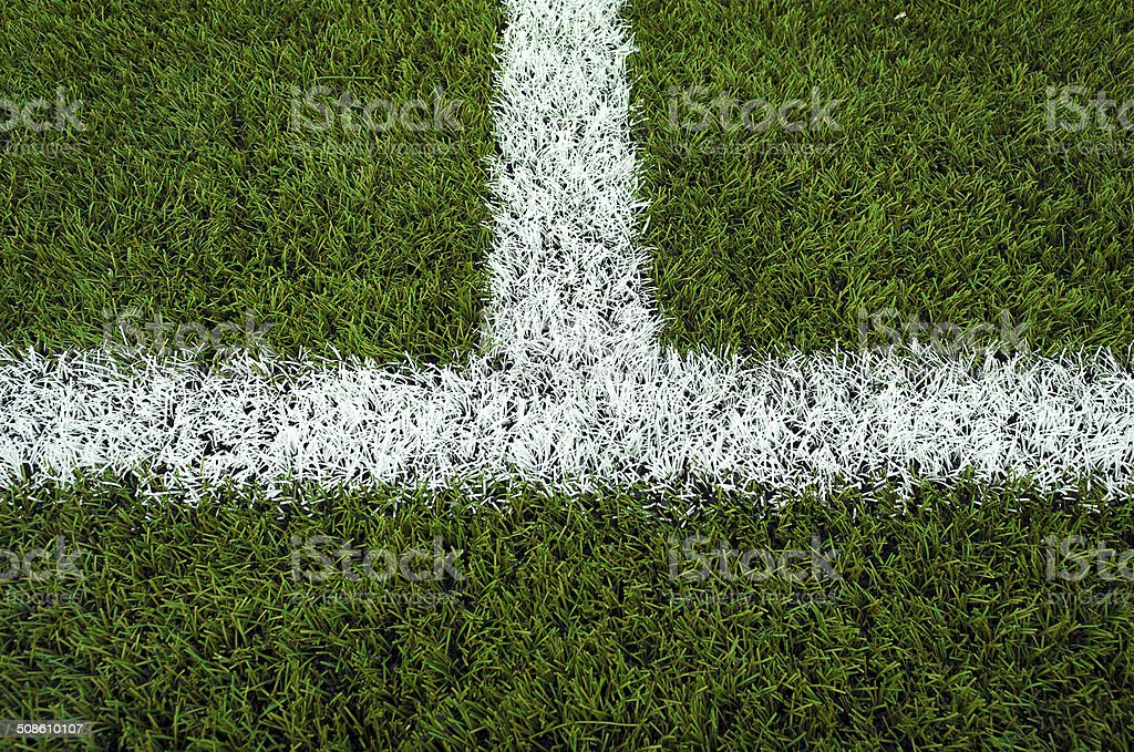 Closeup halfway line of a football field stock photo