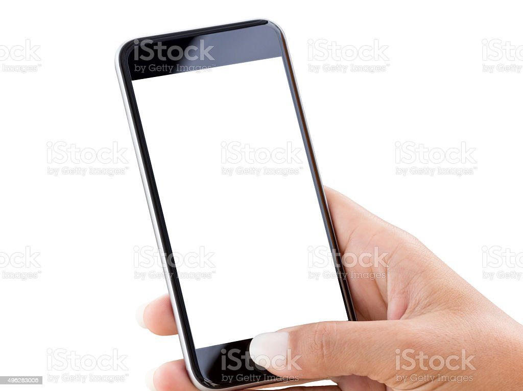 closeup hand using phone isolated on white clipping patch inside stock photo