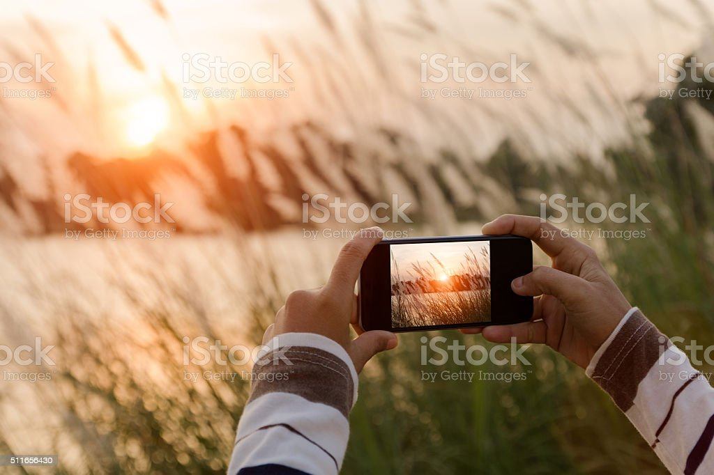 closeup hand using phone taking landscape photo stock photo