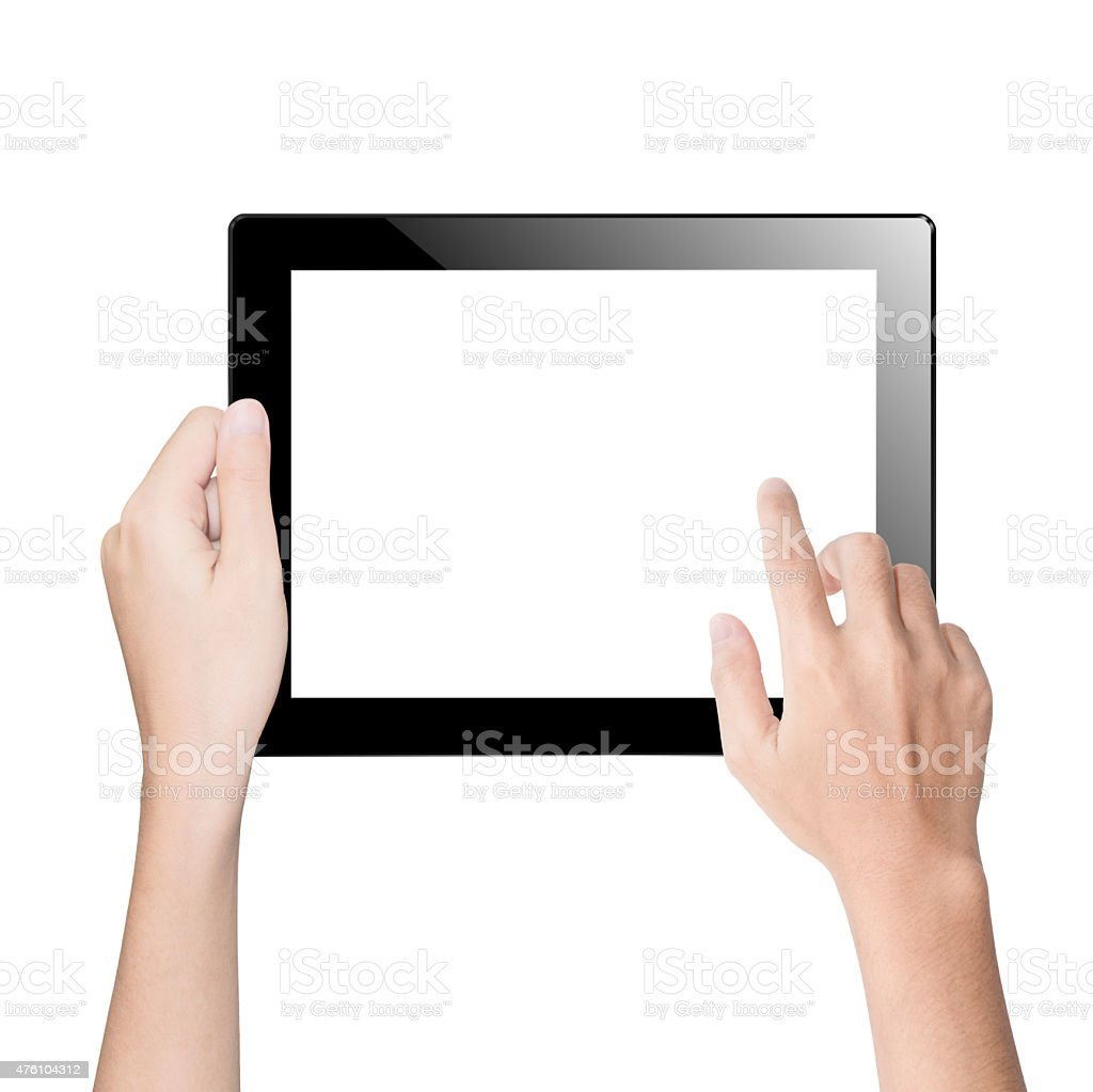 closeup hand using tablet isolated white clipping path inside stock photo