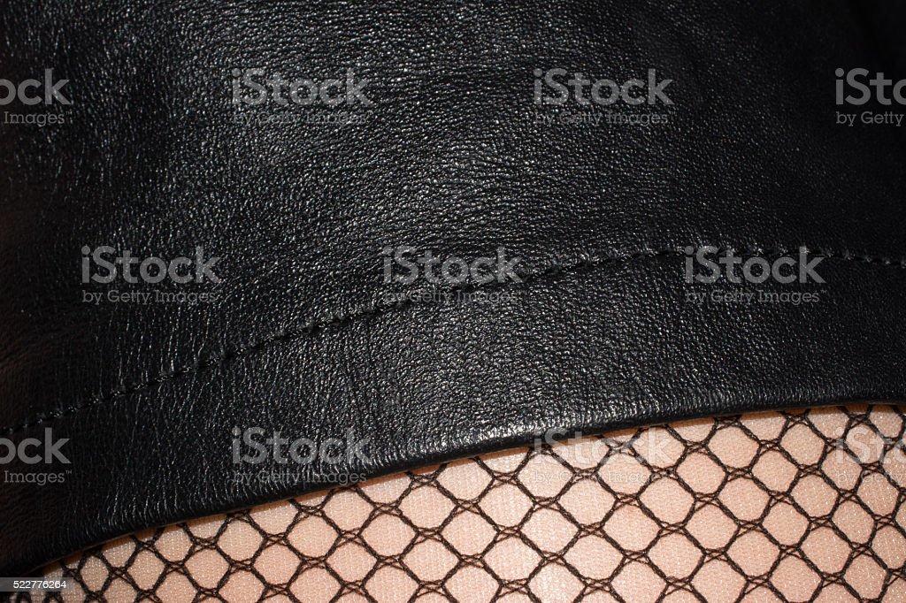 closeup hemline leather skirt stock photo