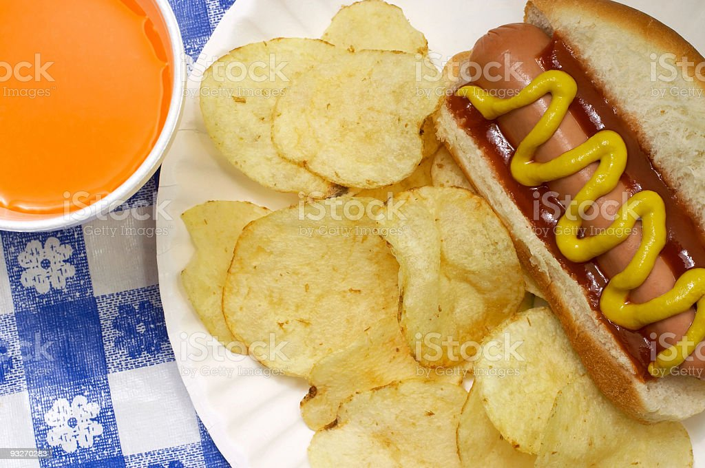 Closeup Hotdog & Chips royalty-free stock photo