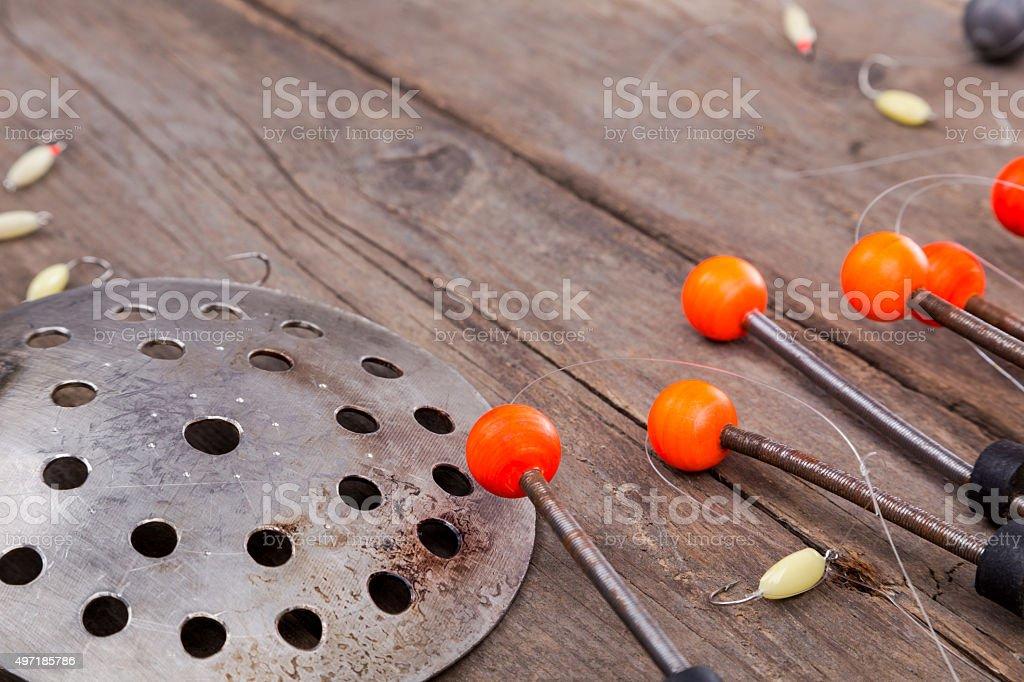 closeup ice fishing tackles and equipment stock photo