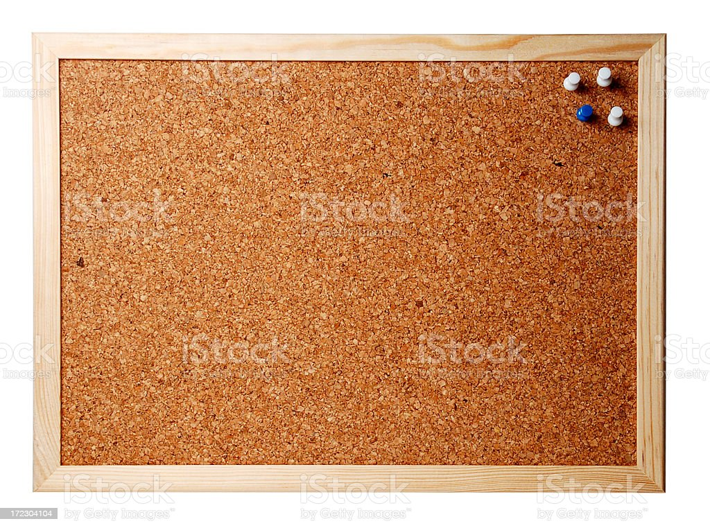 Close-up image of a framed corkboard stock photo