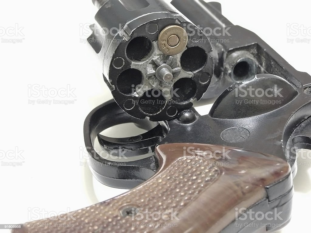 Close-up image of a lone billet in a gun barrel royalty-free stock photo