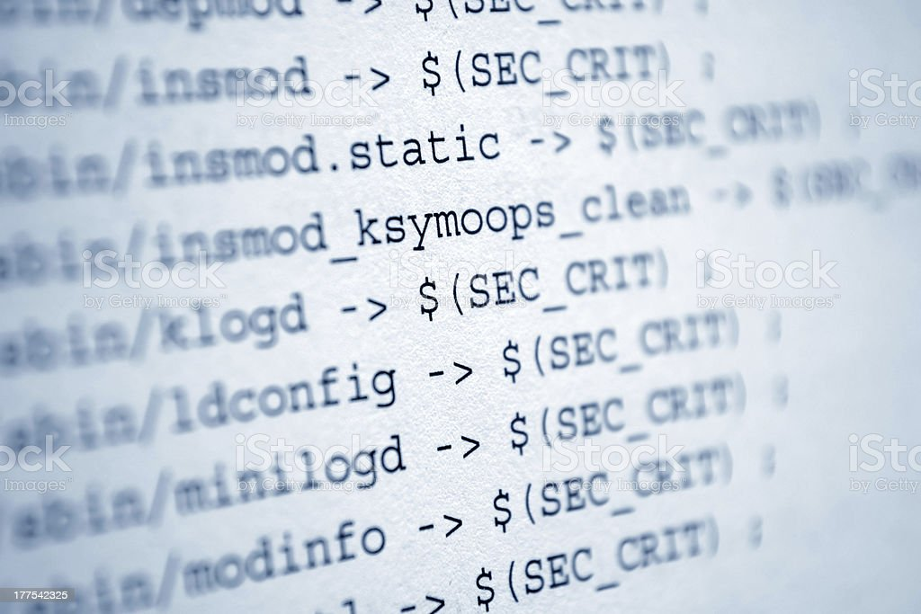 Close-up image of a paper displaying HTML source code stock photo