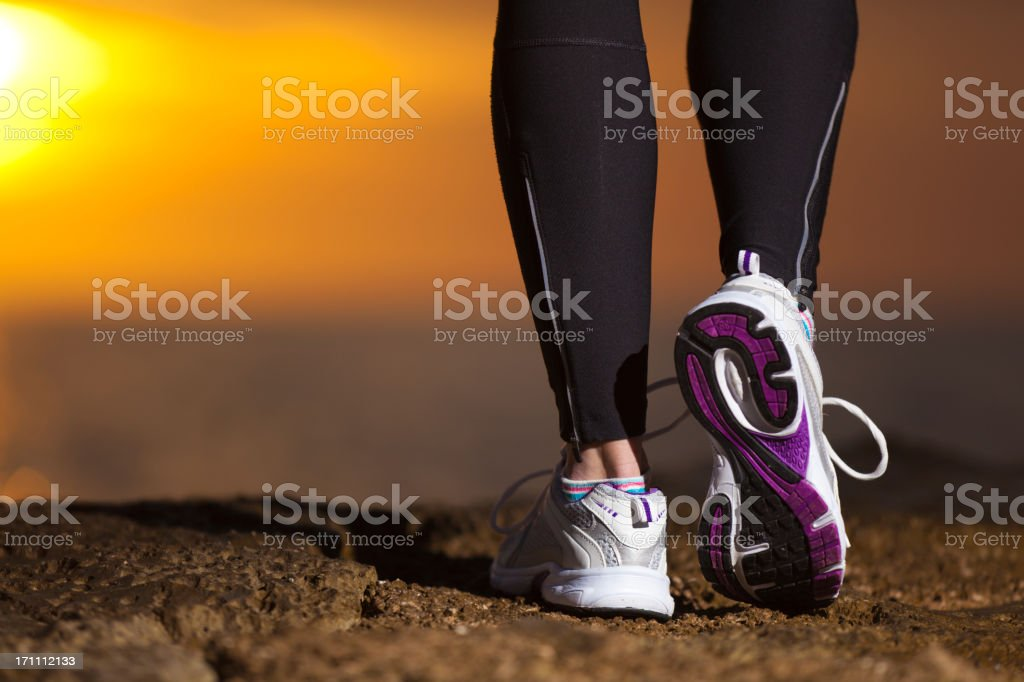 close-up image of a running shoes stock photo