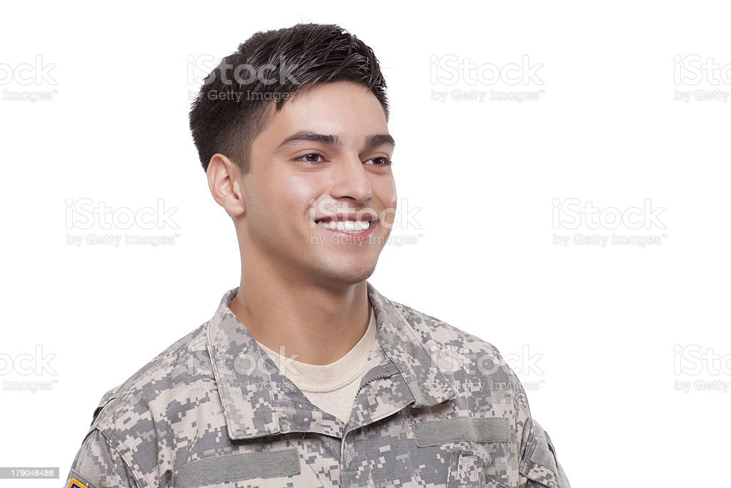 Close-up image of a smiling young soldier royalty-free stock photo