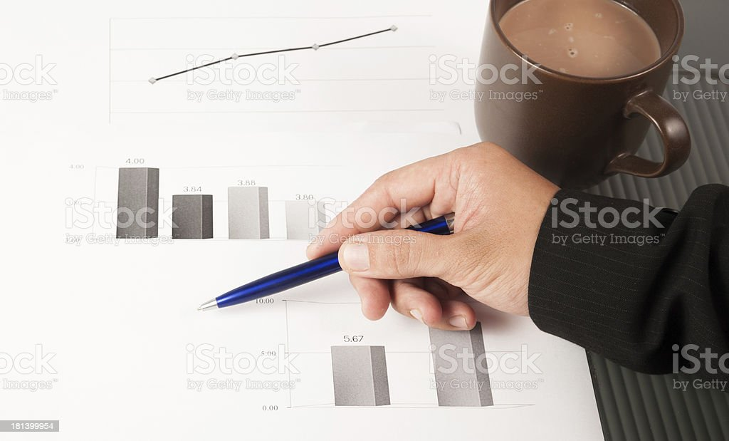 Close-up image of an office desk at morning stock photo