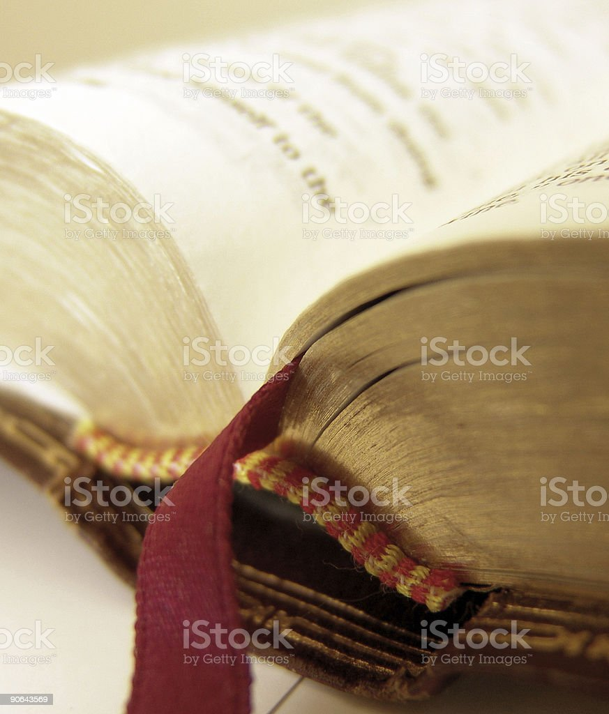 A close-up image of an open Bible royalty-free stock photo