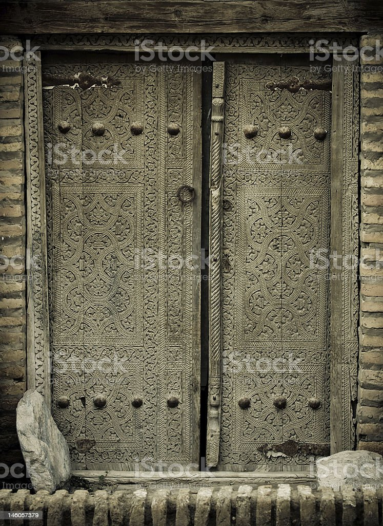 close-up image of ancient doors royalty-free stock photo