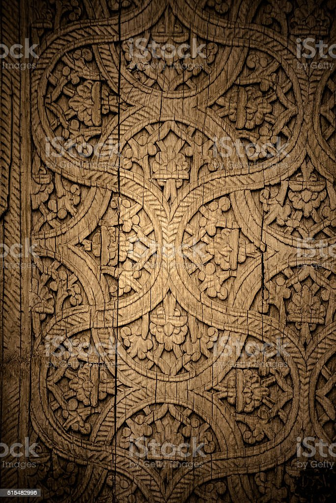 Close-up image of ancient doors with oriental ornaments from Uzb stock photo