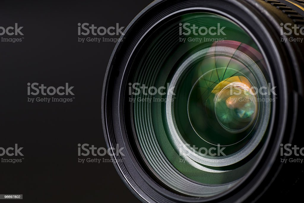 Close-up image of black camera lens stock photo