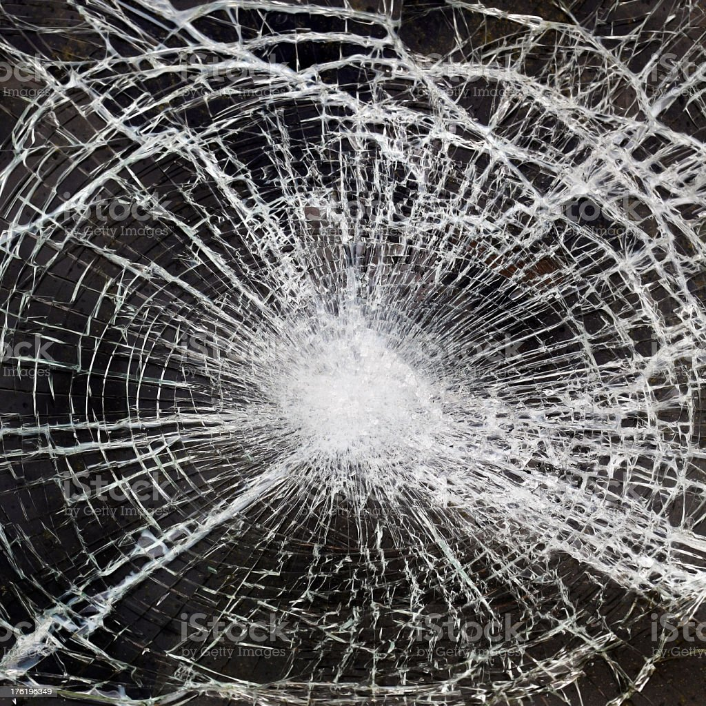A close-up image of broken glass stock photo