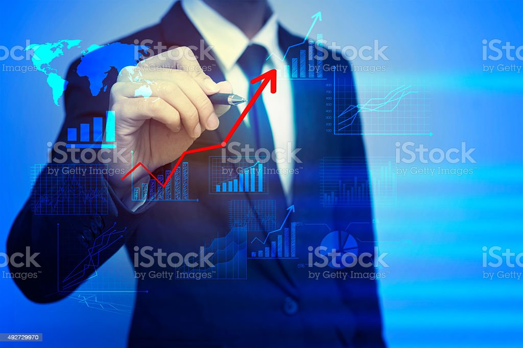 Closeup image of businessman drawing  graph,business strategy as stock photo