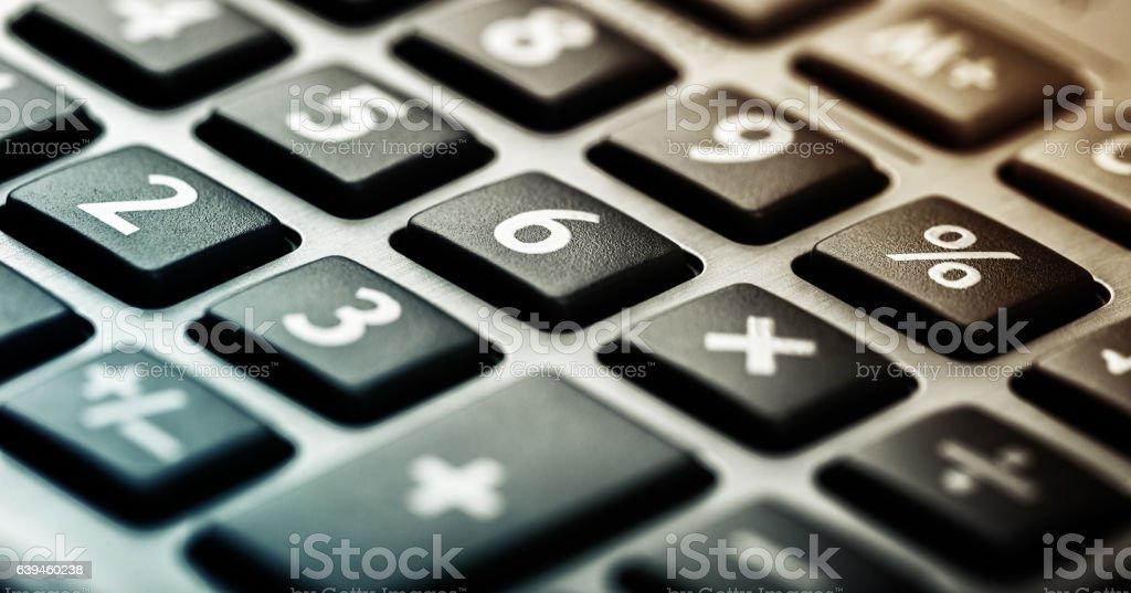 Closeup image of calculator keyboard stock photo