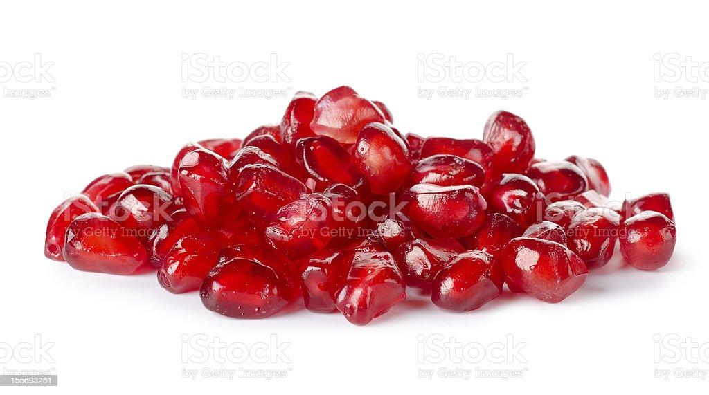 Closeup image of freshly scraped pomegranate seeds stock photo