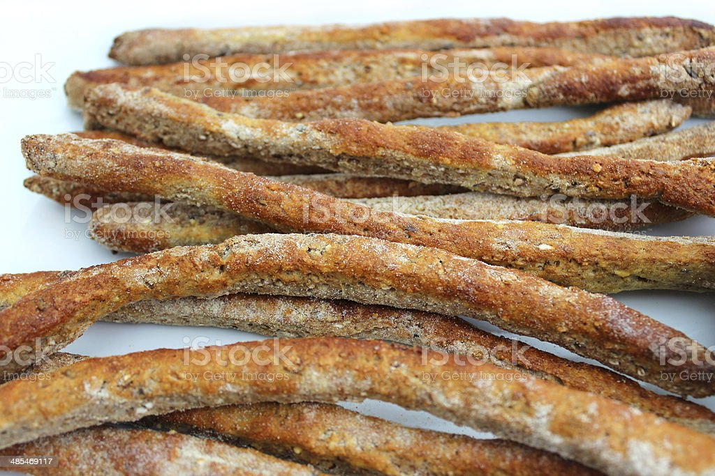 Close-up image of homemade breadsticks stock photo